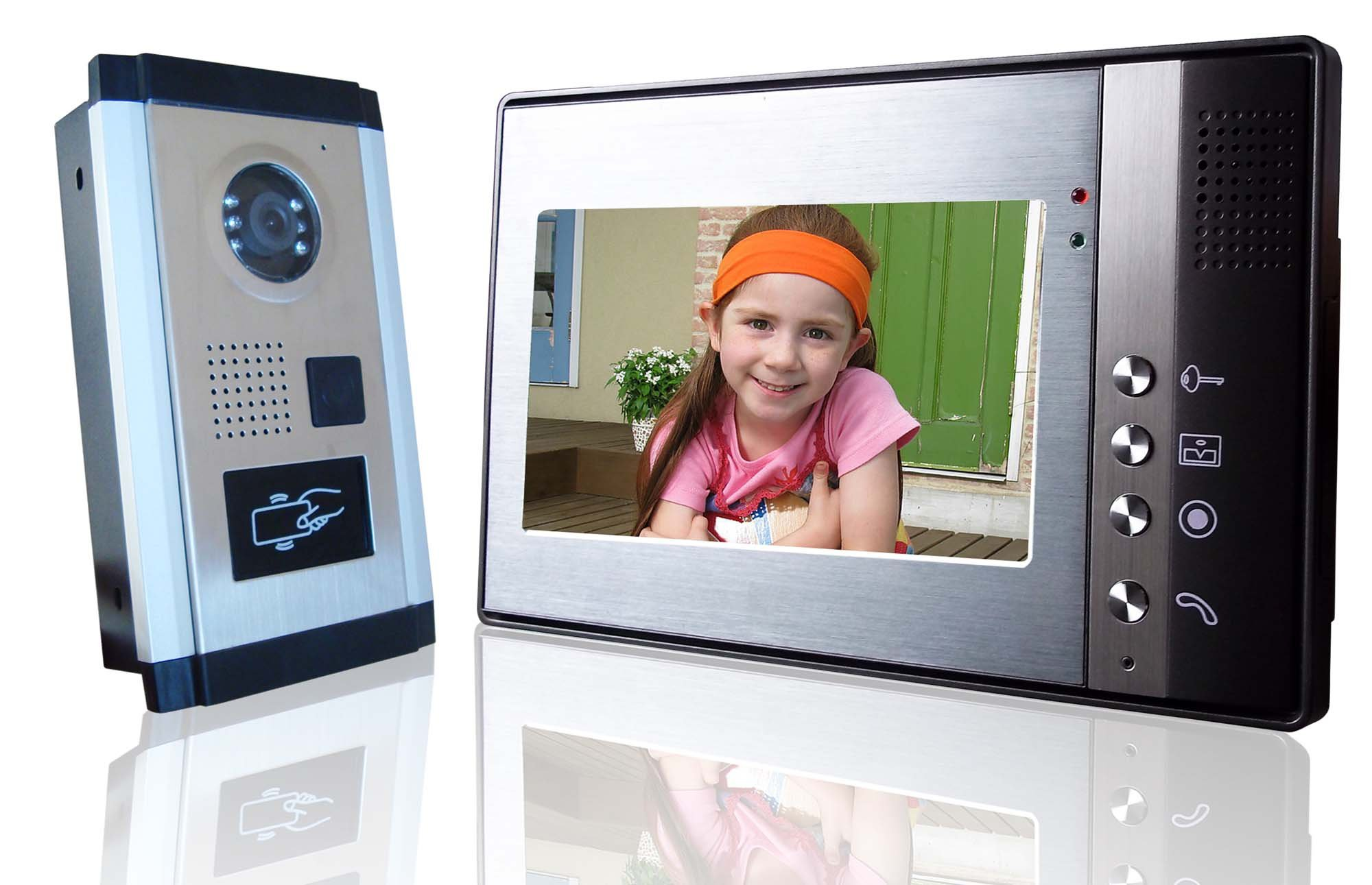 Video door-phone (also known as video door entry or video intercom) is a stand-alone intercom system used to manage calls made at the entrance to a building (residential complex, detached family home, workplace, etc.) with access controlled by audiovisual communication between the inside and outside. The main feature of video door entry is that it enables the person indoors to identify the visitor and, if (and only if) they wish, engage in conversation and/or open the door to allow access to the person calling.